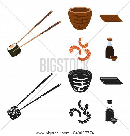 Sticks, Shrimp, Substrate, Bowl.sushi Set Collection Icons In Cartoon, Black Style Vector Symbol Sto