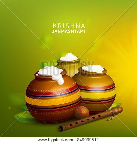 Stock vector illustration Krishna Janmashtami. Indian festival. Hinduism. Gulab Jamun, flute crock leaves. EPS10 poster