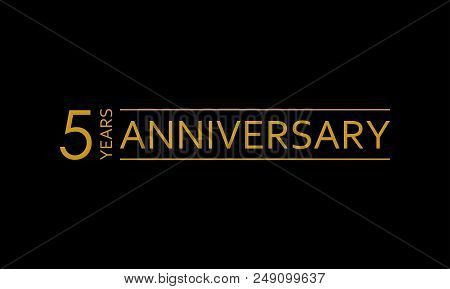 5 Years Anniversary Icon. 5th Birthday Emblem. Anniversary Design Element. Vector Illustration.