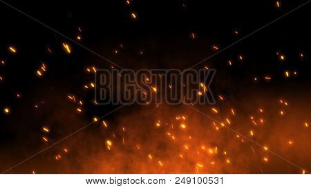 Burning Red Hot Sparks Rise From Large Fire In The Night Sky. Beautiful Abstract Background On The T