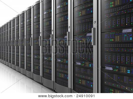 Row of network servers in datacenter