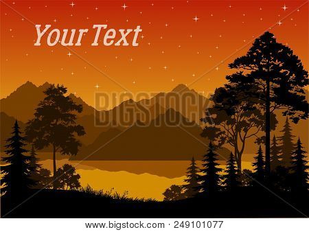 Night Landscape, Forest, Coniferous And Deciduous Trees Silhouettes, Lake Or River, Mountains, Orang