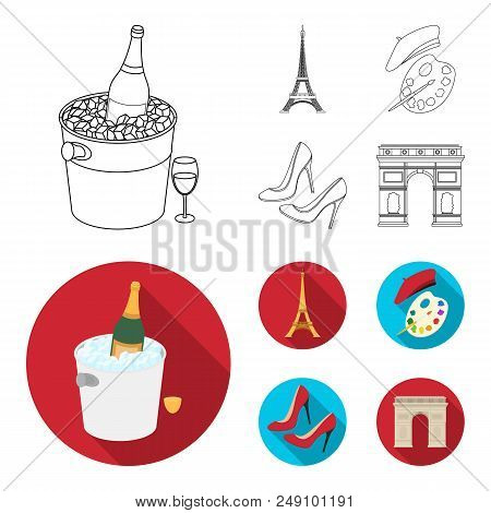 Eiffel Tower, Brush, Hat .france Country Set Collection Icons In Outline, Flat Style Vector Symbol S