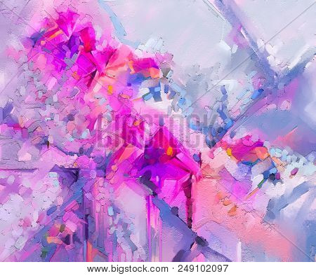 Abstract Colorful Oil Painting On Canvas. Semi Abstract Image Of Flowers, In Yellow Pink And Red Wit