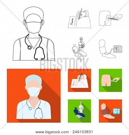 Intramuscular injection, prescription, Dentist, blood pressure measurement. Medicineset collection icons in outline, flat style vector symbol stock illustration . poster