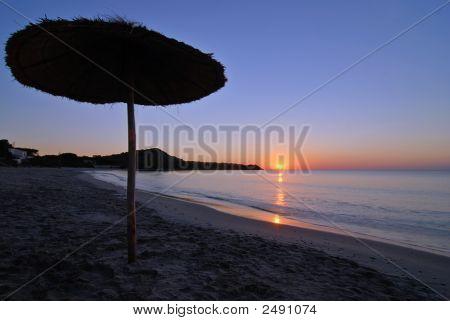 Umbrella At Sunrise