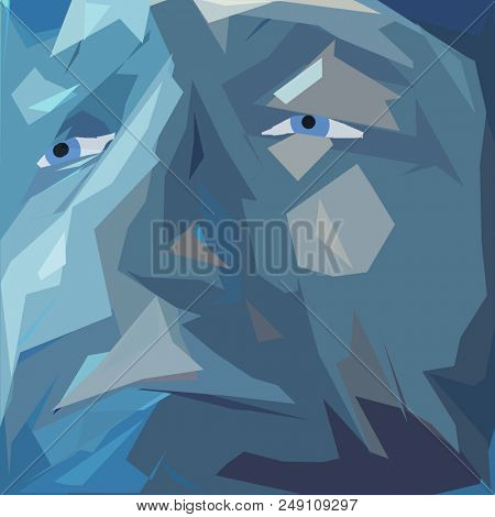 Abstract painting. Man's face in blue colors. 3D rendering