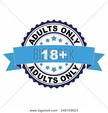 Blue Black Rubber Stamp With Adults Only 18 Plus Concept