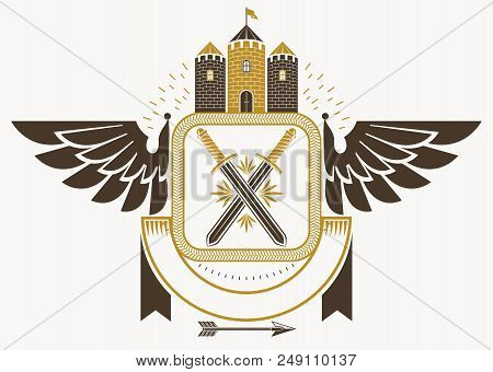 Classy Emblem Made With Eagle Wings Decoration, Medieval Stronghold And Swords. Vector Heraldic Coat