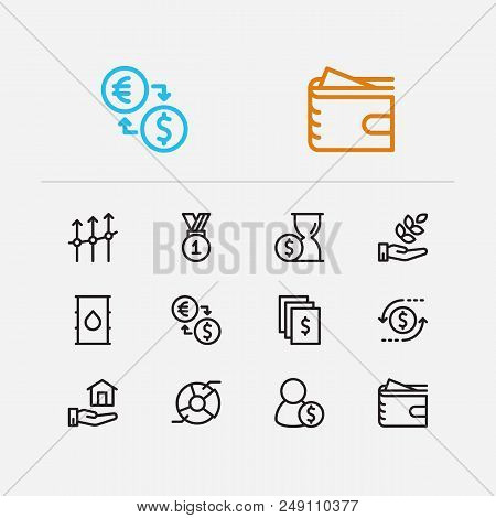 Economy Icons Set. Time Money And Economy Icons With Business Progress, Return On Investment And Ana