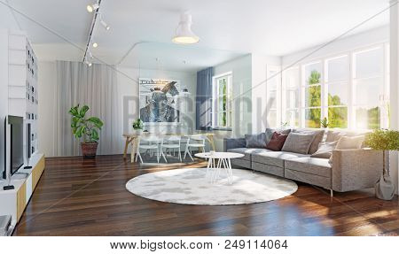 Modern living room interior 3d rendering. Contemporary design concept