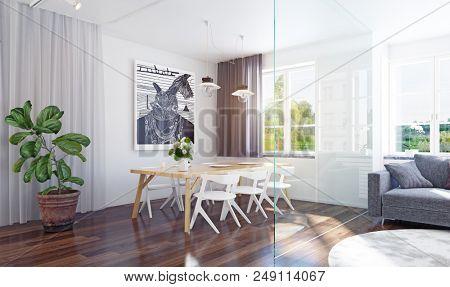 Modern dining room interior 3d rendering. Contemporary design concept