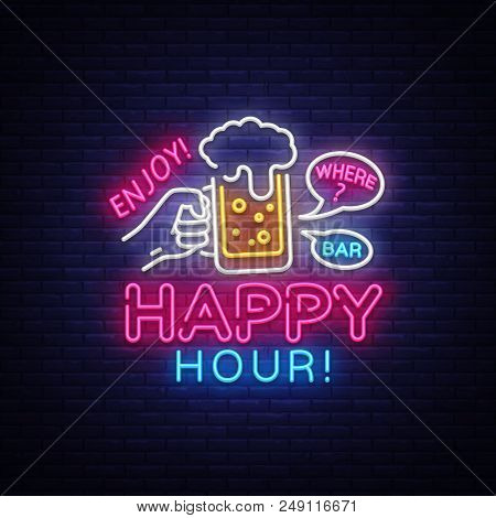Happy Hour Neon Sign Vector. Happy Hour Design Template Neon Sign, Night Dinner, Celebration Light B