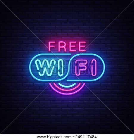 Wifi Neon Sign Vector. Wifi Text Design Template Neon Sign, Light Banner, Neon Signboard, Nightly Br