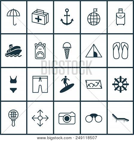 Tourism Icons Set With Parasol, Ice Cream, Visited Country And Other Trip Handbag Elements. Isolated