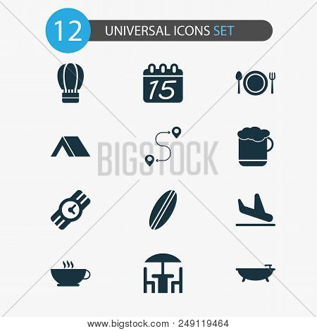 Tourism Icons Set With Beer, Route, Coffee And Other Cafe Elements. Isolated Vector Illustration Tou