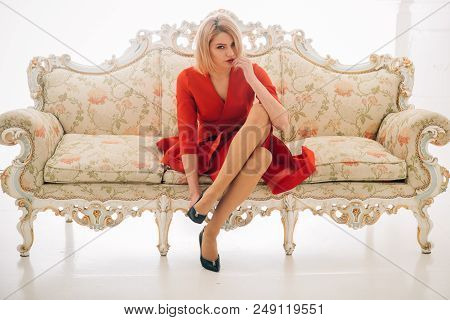Fashion Concept. Shoe Fashion And Style Of Sexy Woman. Fashion Model In Red Dress With Slim Legs. Fa