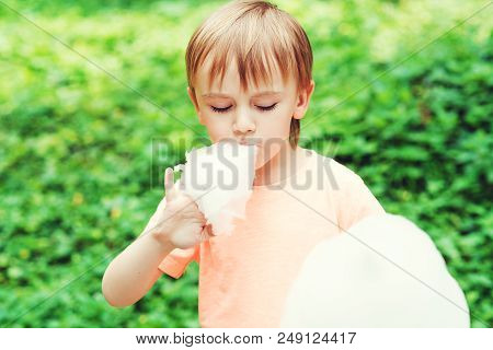 Cute Boy Eats Cotton Candy Outdoors. Happy Childhood. Funny Kid In A Park. Kids Love Sweets. Boy Hol