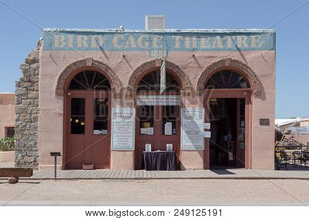 Tombstone, Az, Usa: July 11, 2016 - Historic Architecture And Buildings Of A Frontier Wild West Town