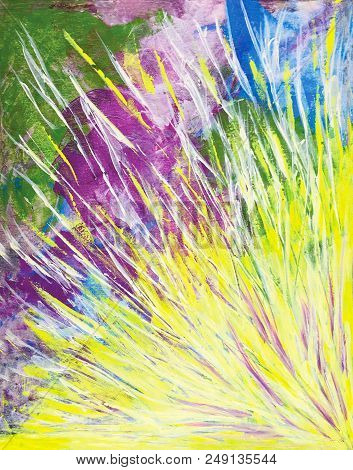Acrylic Painting On Canvas Of Yellow Light Burst On Colorful Background