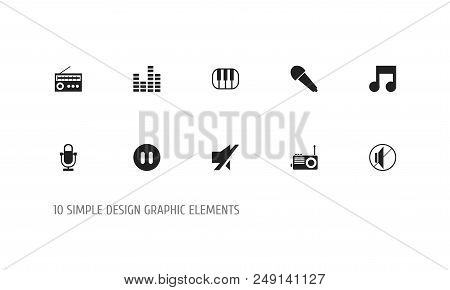 Set Of 10 Editable Mp3 Icons. Includes Symbols Such As Radio Mike, Retro Tuner, Karaoke And More. Ca