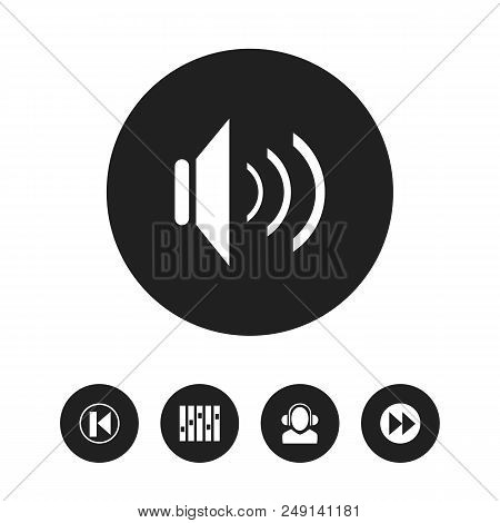 Set Of 5 Editable Sound Icons. Includes Symbols Such As Sound, Meloman, Rewind And More. Can Be Used