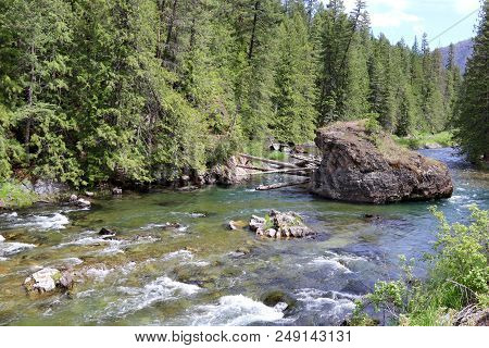 The Lovely Thompson River Running Through Thompson Falls Town