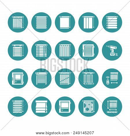 Window Blinds, Shades Vector Glyph Icons. Various Room Darkening Decoration, Roller Shutters, Roman