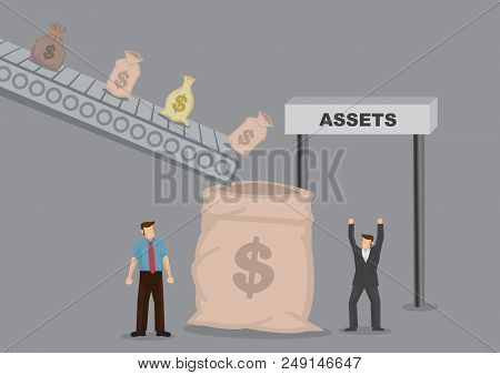 Bags Of Money Dropping From Machinery To A Big Money Sack. Cartoon Vector Illustration On Easy Money