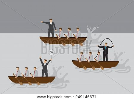 Businessmen In Boat Rowing Competition With Leaders Using Different Leadership Styles To Motivate Te