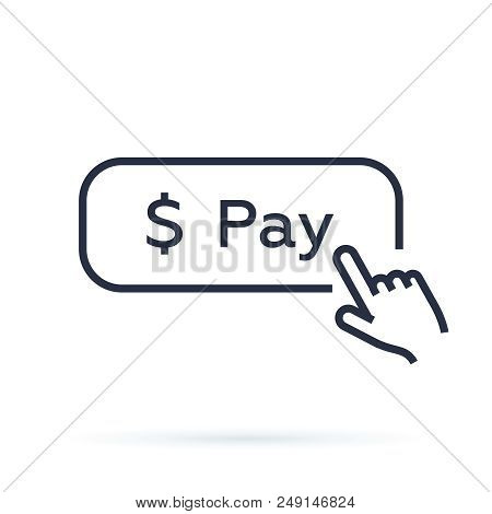 Linear Simple Black Pay Button. Concept Of Easy Order Goods Through The Online Store Like Retail Or
