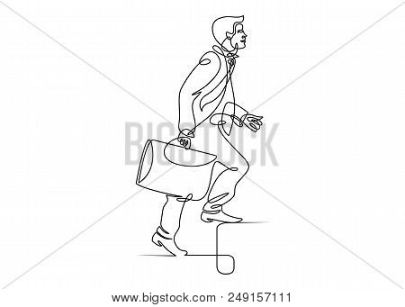 Continuous One Drawn Line Man Manager Climbs The Stairs. A Metaphor For Reaching The Goal And Liftin
