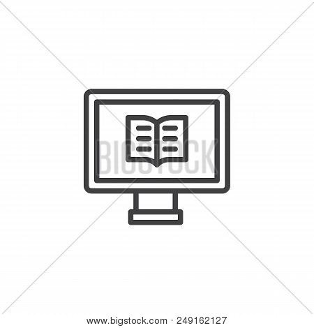 Computer With A Book Outline Icon. Linear Style Sign For Mobile Concept And Web Design. Online Readi