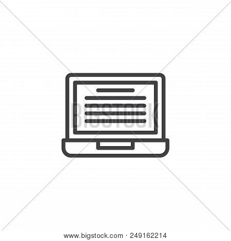 Online Reading Outline Icon. Linear Style Sign For Mobile Concept And Web Design. Laptop With Ebook