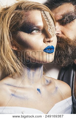 Paint Party. Woman And Man With Art Makeup For Paint Party. Couple In Love Styled For Paint Party. P
