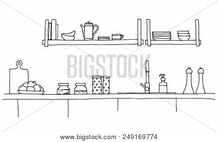 Kitchen Worktop With Sink. The Sketch Of The Kitchen.