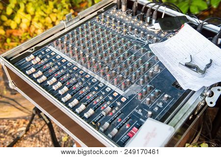 Mixing Console In The Beer Garden At An Open Air Concert