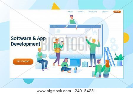 Webpage Building And Software Technology Development. A Team Of Young Professionals Working On A Lan