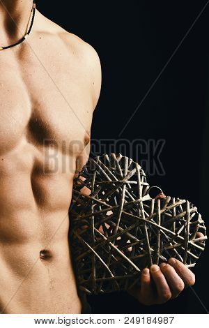 Guys Abs And Strong Chest. Male With Naked Torso Isolated On Black Background. Sports, Bodybuilding,