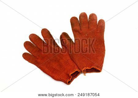 Pair Of Orange-red Working Knitted Gloves, Turned Inside Out. Stretchy Orange Hem. Bright Spot Throu