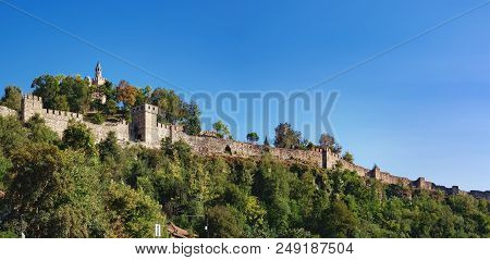 Medieval Ruins Of Tsarevets Fortress On Tsarevets Hill And Patriarchal Cathedral On The Top Of Hill,