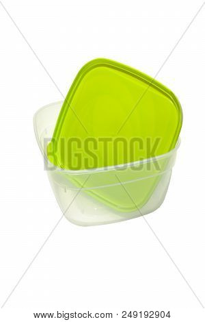 Lunch Container, Good For Microwave Warming. With Green Tight Fit Cover. Isolated On White With Clip