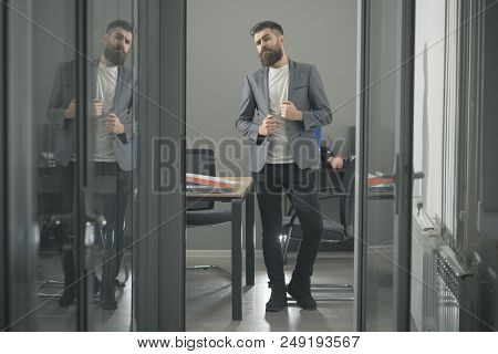 Confidence, Bearded Man Look Out Room Door. Confidence And Success Concept.