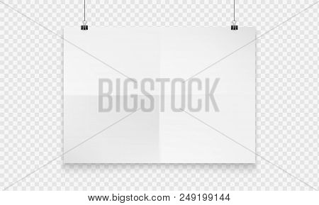 Stock Vector Illustration Realistic Mockup Poster White Horizontal. Isolated On A Transparent Checke