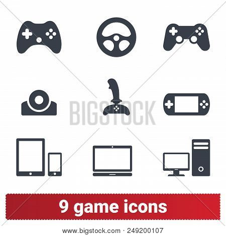Video Game Vector Icons. Collection Of Simple Symbols Related To Gaming: Gadget, Console, Joystick.
