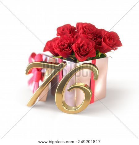 Birthday Concept With Red Roses In Gift Isolated On White Background. 3d Render - Seventy-sixth. 76t