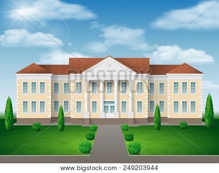 Front View Of Administrative, Governmental, School Or College Building. Traditional Classic Architec