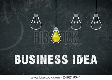 Graphic: Business Idea - Lightbulbs On A Chalkboard