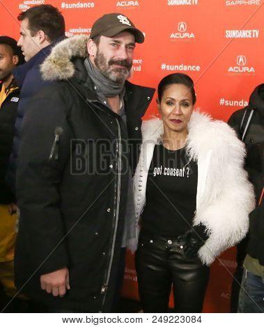 PARK CITY, UT-JAN 21: Jon Hamm (L) and Jada Pinkett Smith attend the