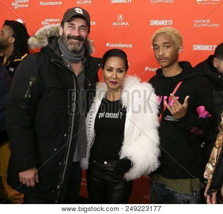PARK CITY, UT-JAN 21: (L-R) Jon Hamm, Jada Pinkett Smith and Jaden Smith attend the